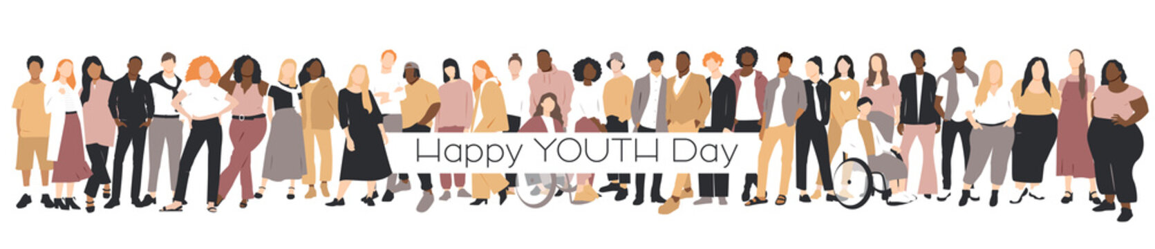 Happy Youth Day card. People of different ethnicities stand side by side together. Flat vector illustration.
