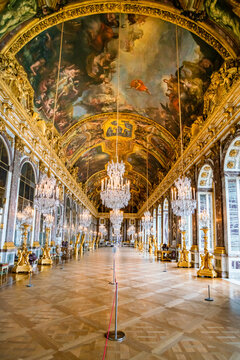 VERSAILLES, FRANCE -  :Hall of Mirrors in the palace of Versailles