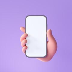 Fototapeta 3D Cartoon hand holding smartphone isolated on purple background, Hand using mobile phone mockup. 3d render illustration obraz