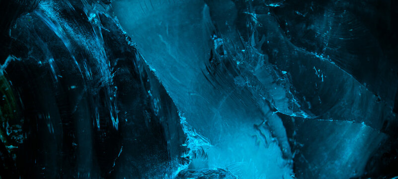 Ice surface with scratches, chunk of ice, panoramic image
