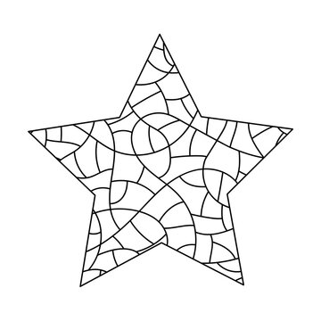 Coloring pages for adults and older children. Doodle anti-stress Vector illustrarion. A hand-drawn five-pointed star