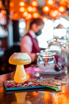 Glass of sour cocktail served on counter in bar