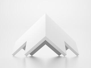 Fototapeta Abstract white minimal geometric object, 3d corner obraz