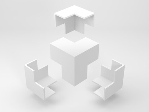 Abstract white geometric installation, flying corners 3d