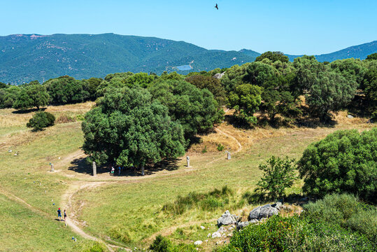 Top view of the Filitosa megalithic site near Sartene with the tourists enjoying the aigle flight, in Corsica 2021.