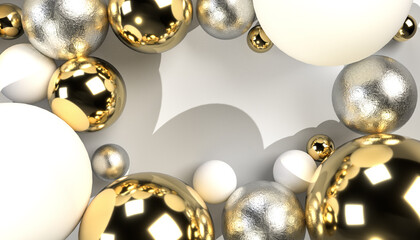 Obraz 3D realistic christmas balls with white, silver and gold accent, copy space for text in the middle, seasonal spheres, festive decoration, luxury design - fototapety do salonu