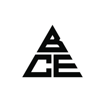 BCE triangle letter logo design with triangle shape. BCE triangle logo design monogram. BCE triangle vector logo template with red color. BCE triangular logo Simple, Elegant, and Luxurious Logo. BCE