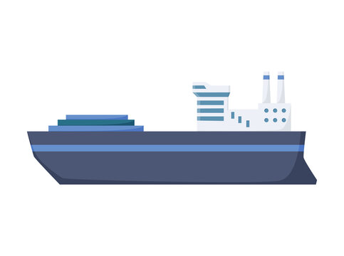 Large industrial steamer. Cargo ship side view isolated on white background. Commercial ship, for ocean water, shipping industry. Isolated transport icon