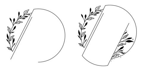 Obraz Okrągłe ramki z wzorem roślinnym w prostym minimalistycznym stylu. Eleganckie szablony z listkami - zaproszenia ślubne, życzenia, planer, tło dla social media stories. - fototapety do salonu