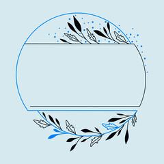 Obraz Dekoracyjna ramka z niebieskimi akcentami - liście i gałązki w prostym stylu do wykorzystania na karty, voucher, życzenia i zaproszenia ślubne. - fototapety do salonu