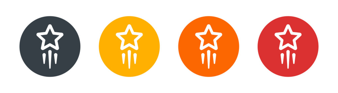Shooting star, star trail, rising star icon symbol. Meteoroid, Comet, Asteroid concept