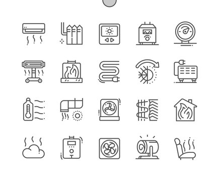Heating. Temperature regulator. Electric batteries. Smart heating. Fireplace. Pixel Perfect Vector Thin Line Icons. Simple Minimal Pictogram