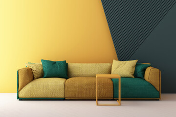 Obraz yellow and green color chairs, sofa, armchair in empty background. surrounding by geometric shape Concept of minimalism & installation art. 3d rendering mock up - fototapety do salonu