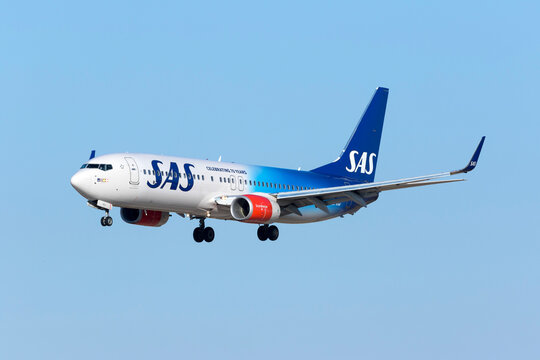 Luqa, Malta August 1, 2017: Scandinavian Airlines - SAS Boeing 737-86N [LN-RGI] in the 70th Anniversary Special color scheme.