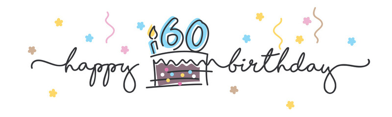 Fototapeta 60th Birthday handwritten typography lettering Greeting card with colorful big cake, number, candle and confetti obraz