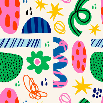 Abstract various bright doodle shapes and objects. Different figures. Hand drawn Vector seamless Pattern. Background, wallpaper, Wrapping, textile template