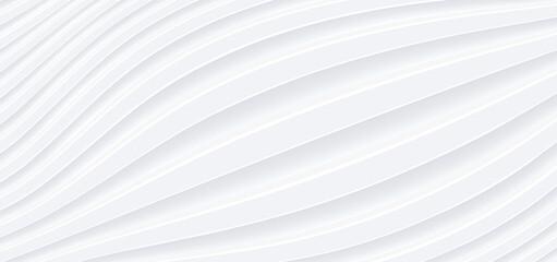 Obraz 3D white wavy background for business presentation. Abstract grey stripes elegant pattern. Minimalist empty striped blank BG. Halftone monochrome cover with modern minimal color, vector illustration. - fototapety do salonu