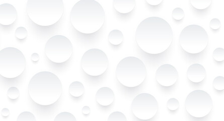 Obraz Abstract white background with 3D circles pattern, interesting white gray vector background illustration. - fototapety do salonu