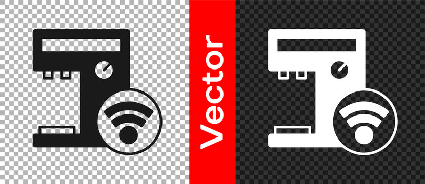 Black Smart coffee machine system icon isolated on transparent background. Internet of things concept with wireless connection. Vector