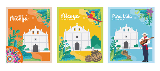 Fototapeta EDITABLE BANNERS/POSTERS for the Annexation of the Nicoya Party, Anexion a Nicoya, Iglesia de San Blas, Costa Rica Independence day, tourism, national symbols, folklore, cultural events (Vectors,EPS) obraz