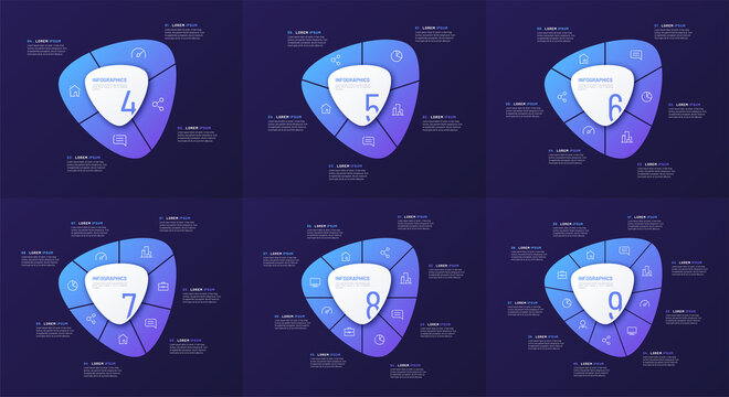 Set of vector circular infographic templates in the form of abstract shape divided by 4 5 6 7 8 9 parts