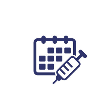 Immunization schedule, vaccine plan icon with calendar and syringe