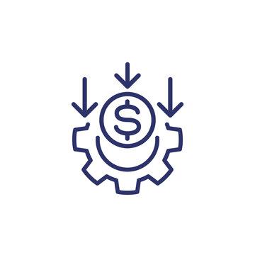 cost reduction, money line icon