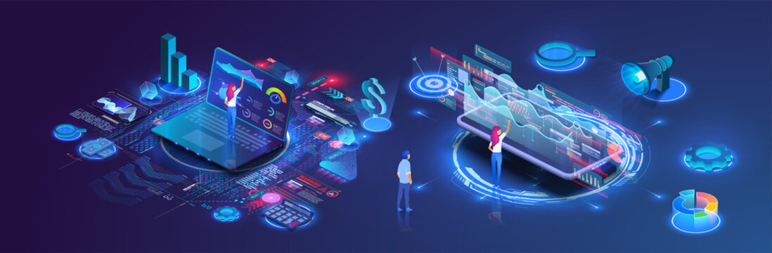 People analyze charts, graphs, plan business strategy and manage data on a laptop and smartphone. Digital marketing. Business analysis isometric vector illustration. Growth strategy or financial goal