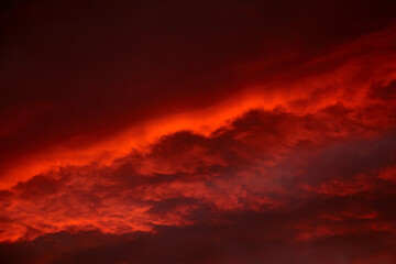 Red sunset sky with dramatic clouds