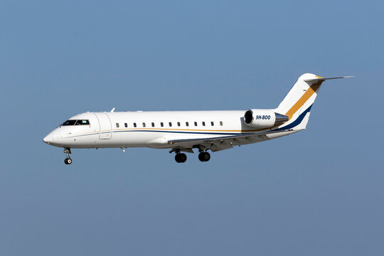 Luqa, Malta February 11, 2016: AirX Challenger 850 [9H-BOO] on finals for runway 31.