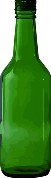 Korean soju bottle with a white background