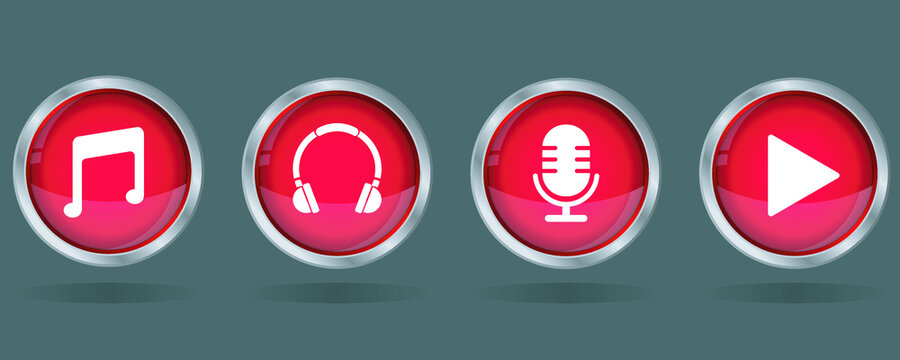 music play button, microphone, headphone, sounds icon red button vector icon set