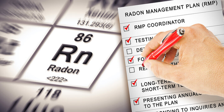 Radon Management Plan - The danger of natural radon gas in buildings - concept with check-list