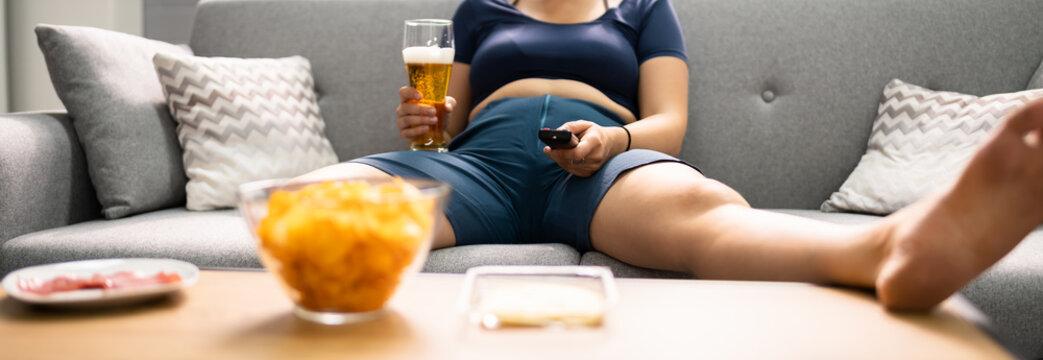 Overeating Junk Food, Drinking Beer