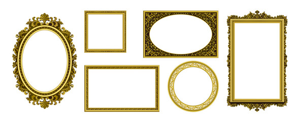 Obraz Golden picture frames. Vintage photo border. Antique royal museum decoration with luxury ornament. Isolated frameworks of gold. Premium furniture template. Vector interior elements set - fototapety do salonu
