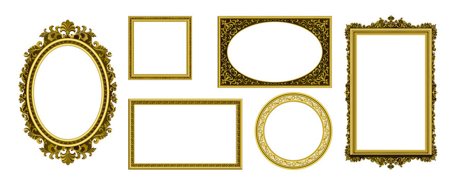 Golden picture frames. Vintage photo border. Antique royal museum decoration with luxury ornament. Isolated frameworks of gold. Premium furniture template. Vector interior elements set