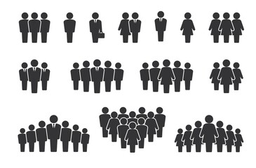 Fototapeta Person group. People silhouette icons. Citizen crowd statistics and team communication concept. Company employee pictograms. Signs of alone standing man or woman. Vector symbols set obraz