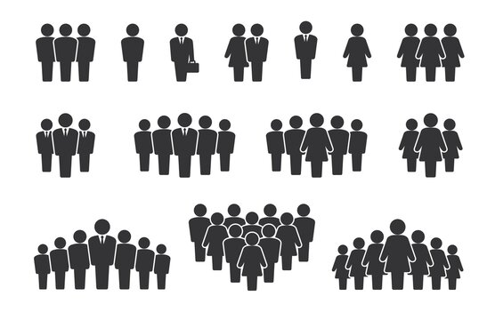 Person group. People silhouette icons. Citizen crowd statistics and team communication concept. Company employee pictograms. Signs of alone standing man or woman. Vector symbols set