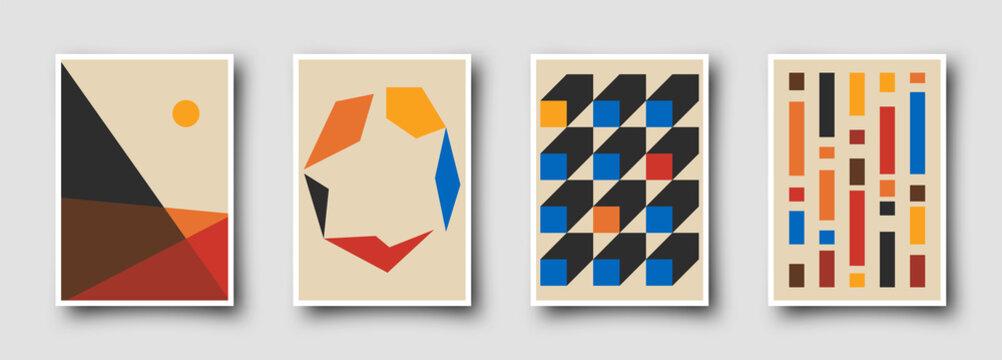 Retro graphic design covers. Cool vintage shape compositions. Trendy colorful bauhaus art templates.