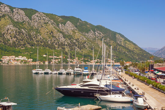 Montenegro, Kotor city. View of embankment and port near Old Town