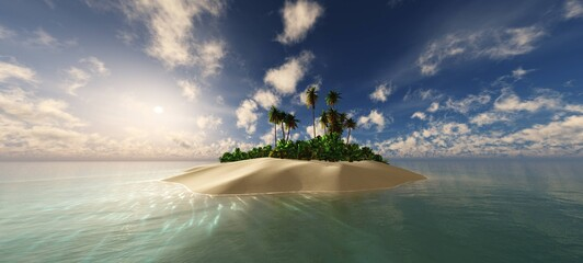 Obraz Island in the ocean in the tropics at sunset, tropical island with palm trees at sunrise, 3d rendering - fototapety do salonu