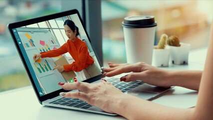 E-learning and Online Business Presentation Meeting Concept. Digital training course for people to...