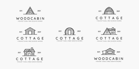 Fototapeta Set of cottage line art minimalist logo vector illustration design obraz