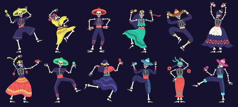 Dia de los muertos skeletons. Day of dead dancing skeletons party, mexican festival skeleton mascots vector illustration set. Dancing halloween holiday skeletons