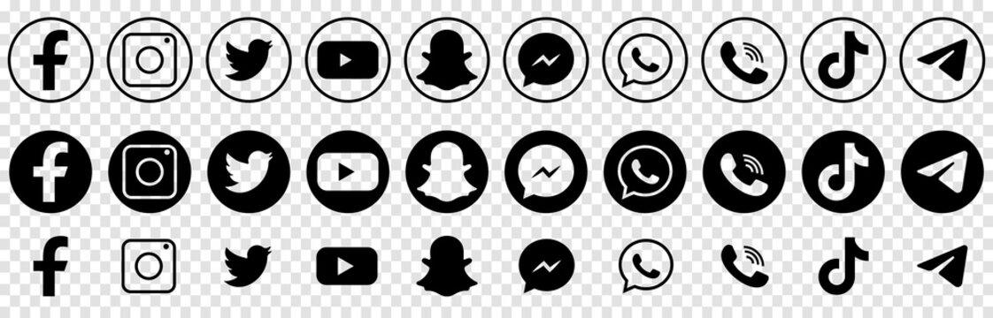 Vinnytsia, Ukraine - July 6, 2021. Social media logotypes. Facebook, instagram, twitter, youtube, snapchat, whatsap, viber, tik tok, telegram Line art style Vector icons isolated on transparent backgr
