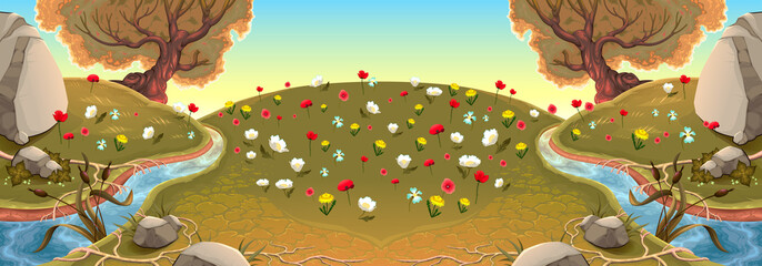 Landscape with rivers and flowers. Vector background illustration.