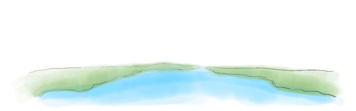海と大陸のイメージ 水彩風