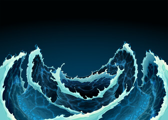 Agitated ocean waves. Vector background illustration.