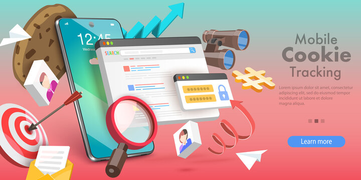 3D Vector Conceptual Illustration of Mobile Cookie Tracking, Website Privacy Policy