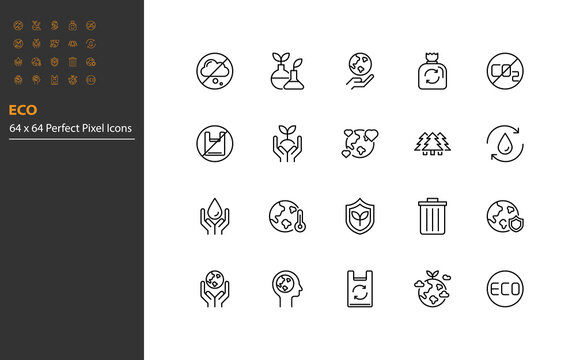 set of eco environment line icons, save the world